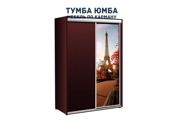 фото недорогой красивый и современный шкаф-купе 1300/450/2100 с раздвижными дверьми с пескоструйным рисунком из ЛДСП от производителя в интернет-магазине TUMBA-UMBA™ Украина
