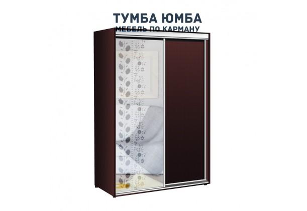 фото недорогой красивый и современный шкаф-купе 1400/450/2100 с раздвижными дверьми с пескоструйным рисунком из ЛДСП от производителя в интернет-магазине TUMBA-UMBA™ Украина