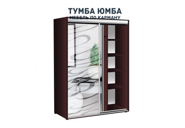 фото недорогой красивый и современный шкаф-купе 1000/600/2100 с раздвижными дверьми и пескоструйным рисунком из ЛДСП от производителя в интернет-магазине TUMBA-UMBA™ Украина