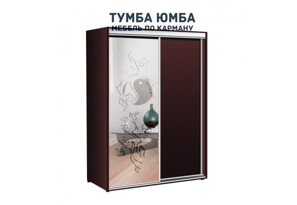 фото недорогой красивый и современный шкаф-купе 1100/600/2100 с раздвижными дверьми с пескоструйным рисунком из ЛДСП от производителя в интернет-магазине TUMBA-UMBA™ Украина