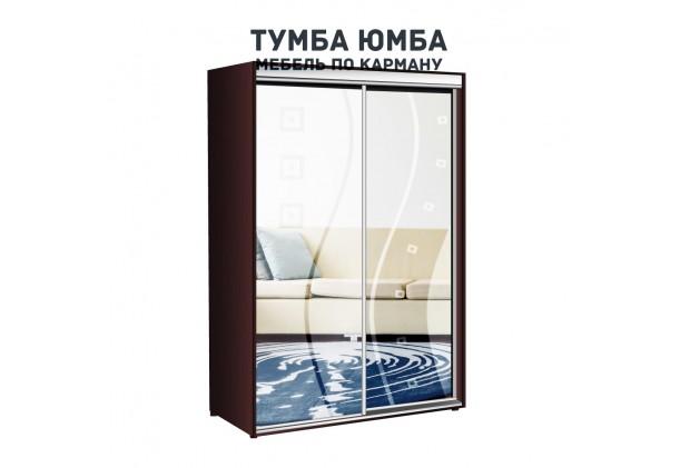 фото недорогой красивый и современный шкаф-купе 1200/600/2100 с раздвижными дверьми с пескоструйным рисунком из ЛДСП от производителя в интернет-магазине TUMBA-UMBA™ Украина