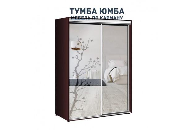 фото недорогой красивый и современный шкаф-купе 1400/600/2100 с раздвижными дверьми с пескоструйным рисунком из ЛДСП от производителя в интернет-магазине TUMBA-UMBA™ Украина