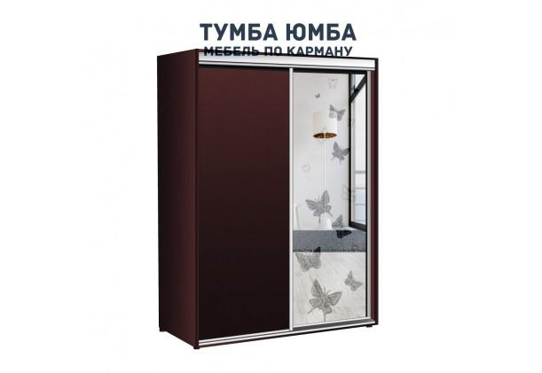 фото недорогой красивый и современный шкаф-купе 1500/600/2100 с раздвижными дверьми и пескоструйным рисунком из ЛДСП от производителя в интернет-магазине TUMBA-UMBA™ Украина