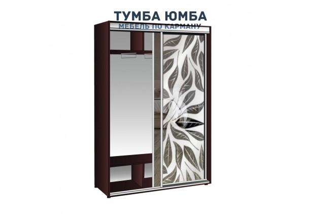 фото недорогой красивый и современный шкаф-купе 1500/450/2400 с раздвижными дверьми и пескоструйным рисунком из ЛДСП от производителя в интернет-магазине TUMBA-UMBA™ Украина