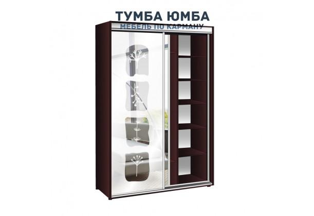 фото недорогой красивый и современный шкаф-купе 1300/600/2400 с раздвижными дверьми и пескоструйным рисунком из ЛДСП от производителя в интернет-магазине TUMBA-UMBA™ Украина