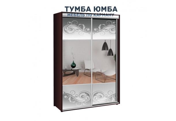фото недорогой красивый и современный шкаф-купе 1600/600/2400 с раздвижными дверьми и пескоструйным рисунком из ЛДСП от производителя в интернет-магазине TUMBA-UMBA™ Украина