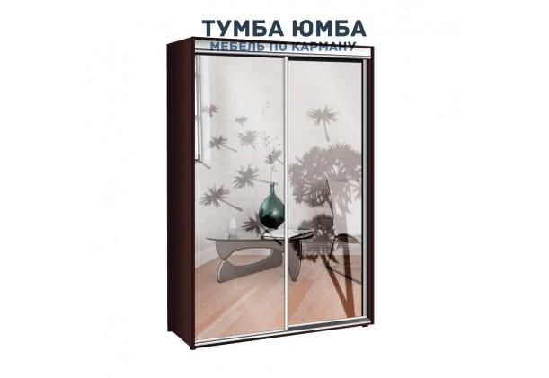 фото недорогой красивый и современный шкаф-купе 1700/600/2400 с раздвижными дверьми и пескоструйным рисунком из ЛДСП от производителя в интернет-магазине TUMBA-UMBA™ Украина