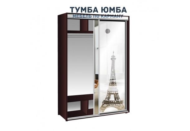 фото высокий недорогой красивый и современный шкаф-купе 1800/600/2400 с раздвижными дверьми и пескоструйным рисунком из ЛДСП от производителя в интернет-магазине TUMBA-UMBA™ Украина
