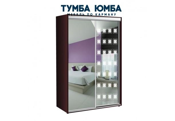 фото недорогой красивый и современный шкаф-купе 1100/600/2200 с раздвижными дверьми с пескоструйным рисунком из ЛДСП от производителя в интернет-магазине TUMBA-UMBA™ Украина