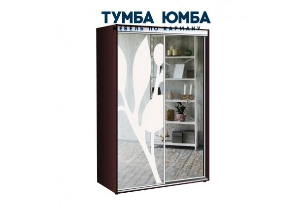 фото недорогой красивый и современный шкаф-купе 1200/600/2200 с раздвижными дверьми с пескоструйным рисунком из ЛДСП от производителя в интернет-магазине TUMBA-UMBA™ Украина