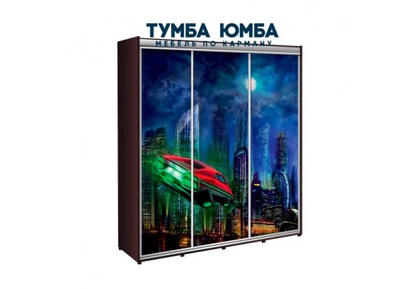 фото недорогой красивый и современный шкаф-купе 2700/450/2400 с раздвижными дверьми с фотопечатью из ЛДСП от производителя в интернет-магазине TUMBA-UMBA™ Украина