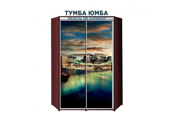 фото недорогой красивый и современный угловой шкаф-купе 1100/1100/2100 с раздвижными дверьми с фотопечатью из ЛДСП от производителя в интернет-магазине TUMBA-UMBA™ Украина