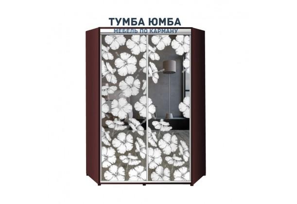 фото недорогой красивый и современный шкаф-купе 1300/1300/2100 с раздвижными дверьми с пескоструйным рисунком из ЛДСП от производителя в интернет-магазине TUMBA-UMBA™ Украина