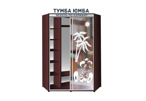 фото недорогой красивый и современный шкаф-купе 1500/1500/2100 с раздвижными дверьми с пескоструйным рисунком из ЛДСП от производителя в интернет-магазине TUMBA-UMBA™ Украина
