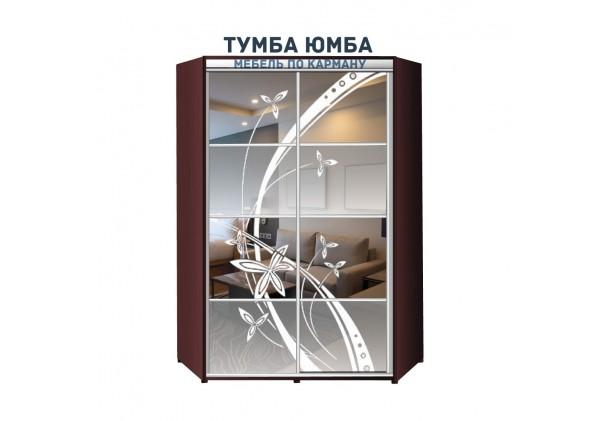фото недорогой красивый и современный шкаф-купе 1300/1300/2400 с раздвижными дверьми с пескоструйным рисунком из ЛДСП от производителя в интернет-магазине TUMBA-UMBA™ Украина