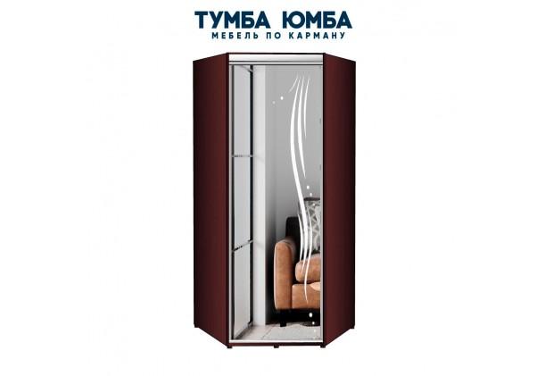 фото недорогой красивый и современный угловой шкаф с распашной зеркальной дверью с пескоструйным рисунком из ЛДСП дешево от производителя с доставкой по всей Украине в интернет-магазине TUMBA-UMBA™