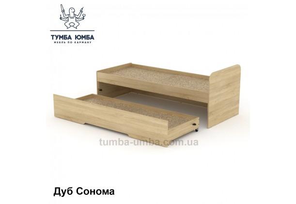 фото стандартная кровать 80+70 см с выкатным спальным местом Компанит в спальню, на дачу или для общежития в цвете дуб сонома дешево от производителя с доставкой по всей Украине