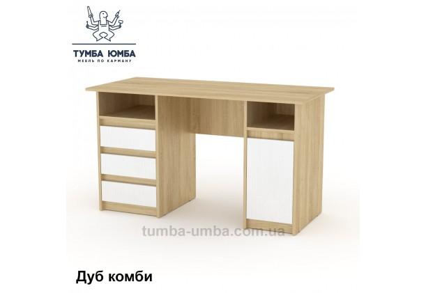 Фото готовый прямой стандартный стол Декан-2 в офис, для ребенка, для дома или для учителя в цвете дуб сонома с белым дешево от производителя с доставкой по всей Украине
