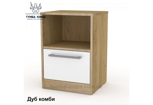 Фото недорогая стандартная прикроватная в спальню или офисная тумба под принтер и оргтехнику ПКТ-6 ДСП с нишей и ящиками в цвете дуб сонома с белым дешево от производителя с доставкой по всей Украине