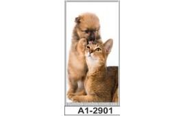 Фотопечать А1-2901 для шкафа-купе на одну дверь. Котёнок и щенок