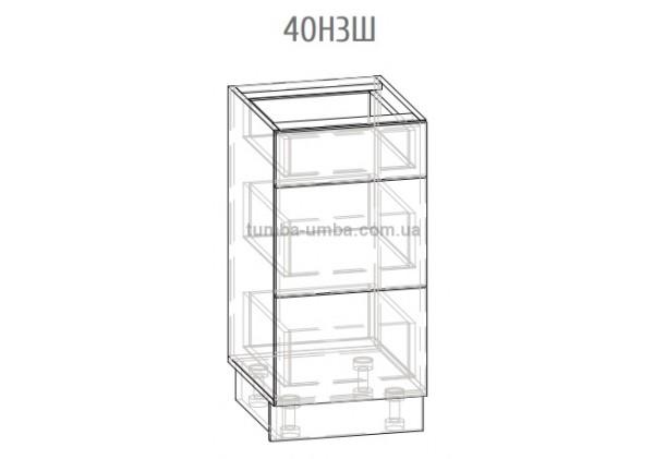 Фото-схема шкаф-стол с ящиками Грета 40Н3Ш Мебель-Сервис дешево от производителя с доставкой по всей Украине