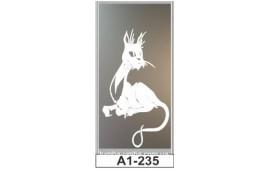 Пескоструйный рисунок А1-235 на одну дверь шкафа-купе. Кот