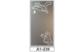 Пескоструйный рисунок А1-239 на одну дверь шкафа-купе. Кот