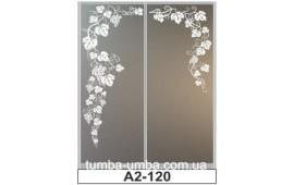 Пескоструйный рисунок А2-120 на две двери шкафа-купе. Виноградные листья