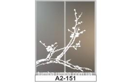 Пескоструйный рисунок А2-151 на две двери шкафа-купе. Цветы