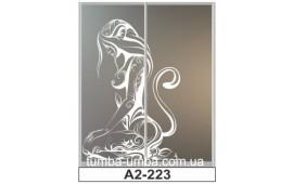 Пескоструйный рисунок А2-223 на две двери шкафа-купе. Женщина-Кошка