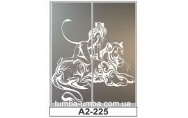 Пескоструйный рисунок А2-225 на две двери шкафа-купе. Женщина-Кошка