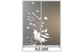 Пескоструйный рисунок А2-285 на две двери шкафа-купе. Цветы