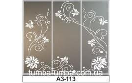 Пескоструйный рисунок А3-113 на три двери шкафа-купе. Цветы