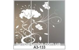 Пескоструйный рисунок А3-133 на три двери шкафа-купе. Цветы