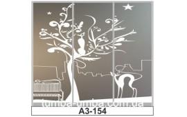 Пескоструйный рисунок А3-154 на три двери шкафа-купе. Коты