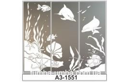 Пескоструйный рисунок А3-1551 на три двери шкафа-купе. Рыбки