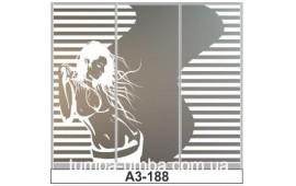 Пескоструйный рисунок А3-188 на три двери шкафа-купе. Девушка