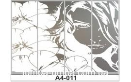 Пескоструйный рисунок А4-011 на четыре двери шкафа-купе. Девушка