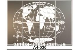 Пескоструйный рисунок А4-030 на четыре двери шкафа-купе. Глобус