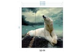 Фотопечать 3Д-06 для шкафа-купе на три двери. Белый медведь