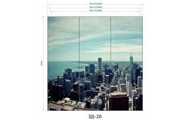 Фотопечать 3Д-20 для шкафа-купе на три двери. Виды города