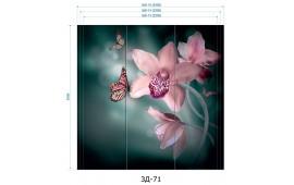 Фотопечать 3Д-71 для шкафа-купе на три двери. Цветы