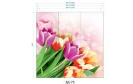 Фотопечать 3Д-75 для шкафа-купе на три двери. Цветы