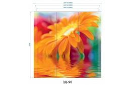 Фотопечать 3Д-90 для шкафа-купе на три двери. Цветы