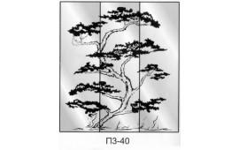 Пескоструйный рисунок П3-40 на три двери шкафа-купе. Дерево