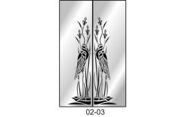 Пескоструйный рисунок 02-03 на две двери для шкафа-купе. Птицы