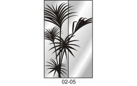 Пескоструйный рисунок 02-04 на две двери для шкафа-купе. Цветы