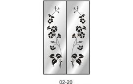 Пескоструйный рисунок 02-20 на две двери шкафа-купе. Цветы