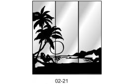Пескоструйный рисунок 02-21 на три двери шкафа-купе. Пальмы