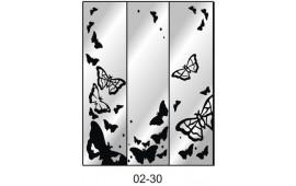 Пескоструйный рисунок 02-30 на три двери шкафа-купе. Бабочки